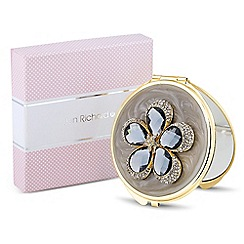 Jon Richard - Grey crystal enamel flower compact mirror