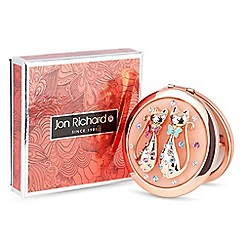 Jon Richard - Rose gold crystal cat compact mirror