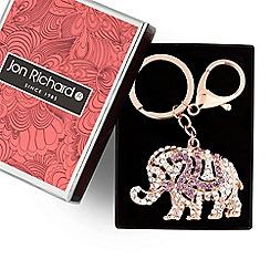 Jon Richard - Rose gold crystal elephant keyring