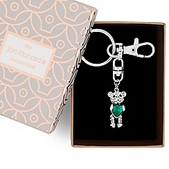 Jon Richard - Green crystal heart teddy keyring