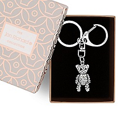 Jon Richard - Silver crystal teddy keyring