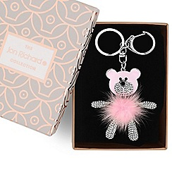 Jon Richard - Pink fluffy bear keyring