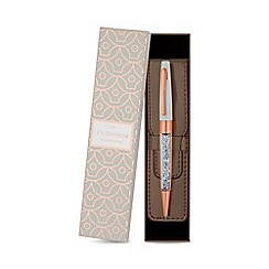 Jon Richard - Rose gold crystal pen and pouch set