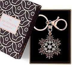 Jon Richard - Rose gold pearl snowflake keyring