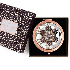 Jon Richard - Rose gold pearl snowflake compact mirror
