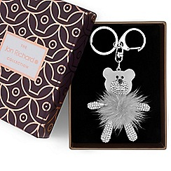 Jon Richard - Grey fluffy bear keyring