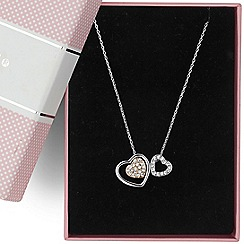Jon Richard - Two tone double heart pendant necklace