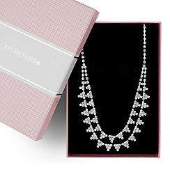 Jon Richard - Diamante crystal cluster double row necklace