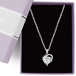Jon Richard - Cubic zirconia heart pendant necklace
