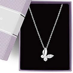 Jon Richard - Cubic zirconia butterfly pendant necklace