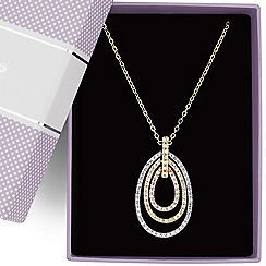 Jon Richard - Triple tone crystal interlock peardrop necklace