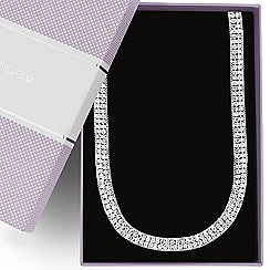 Jon Richard - Diamante crystal silver chain surround necklace