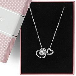 Jon Richard - Double crystal silver heart pendant necklace