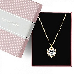 Jon Richard - Gold crystal heart surround pendant necklace