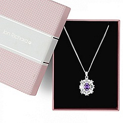 Jon Richard - Oval purple cubic zirconia stone surround necklace