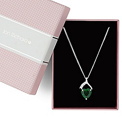Jon Richard - Green cubic zirconia heart drop necklace