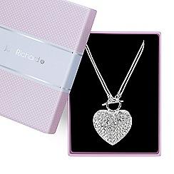 Jon Richard - Pave crystal heart t bar necklace