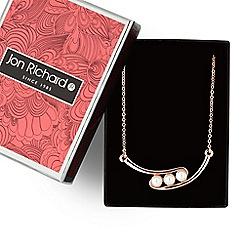 Jon Richard - Rose gold pearl bar necklace