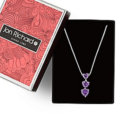 Jon Richard - Purple cubic zirconia graduating heart necklace