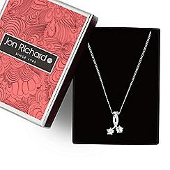 Jon Richard - Cubic zirconia double star silver necklace