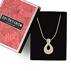 Jon Richard - Gold crystal infinity swirl pendant necklace
