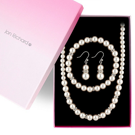 Jon Richard - Cream pearl and crystal rondel necklace, bracelet and drop earring set