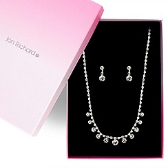 Jon Richard - Solitaire stone and diamante crystal necklace and earring set