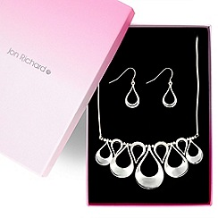 Jon Richard - Graduated polished silver teardrop necklace and earrings set