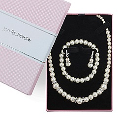 Jon Richard - Cream pearl and crystal rondel trio jewellery set
