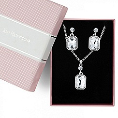 Jon Richard - Square crystal pendant necklace and earring set