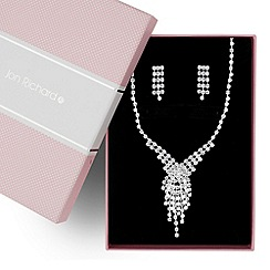 Jon Richard - Diamante crystal tassel drop necklace and earring set