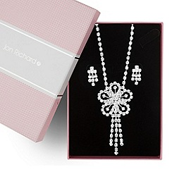 Jon Richard - Statement diamante crystal flower necklace and earring set
