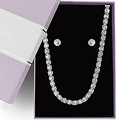 Jon Richard - Diamante crystal silver ball chain surround jewellery set