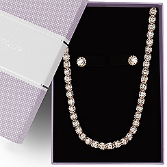 Jon Richard - Diamante crystal rose gold ball chain surround jewellery set