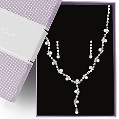 Jon Richard - Pearl and diamante crystal y drop jewellery set