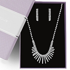 Jon Richard - Diamante crystal and polished silver stick jewellery set
