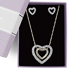 Jon Richard - Two tone crystal heart necklace and earring set