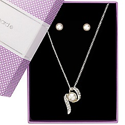 Jon Richard - Pearl and crystal twist necklace and earring set