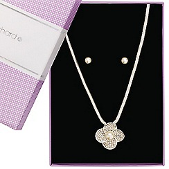 Jon Richard - Crystal and pearl daisy necklace and earring set
