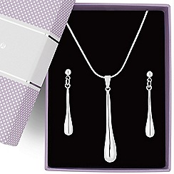 Jon Richard - Polished silver drop pendant necklace and earring set