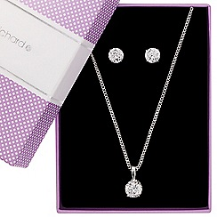 Jon Richard - Round cubic zirconia pendant necklace and earring set