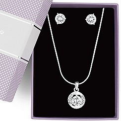 Jon Richard - Cubic zirconia twist surround jewellery set