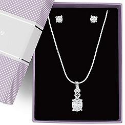 Jon Richard - Oval cubic zirconia pendant necklace and earring set