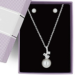 Jon Richard - Triple cubic zirconia and pearl drop jewellery set