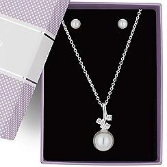 Jon Richard - Triple cubic zirconia and pearl drop jewellery set