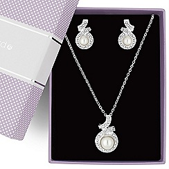 Jon Richard - Pearl and crystal twist drop jewellery set