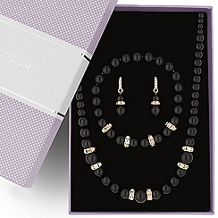 Jon Richard - Jet pearl and crystal rondel jewellery set