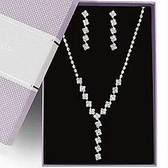 Jon Richard - Great value diamante crystal square y drop jewellery set