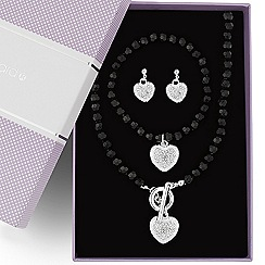 Jon Richard - Online exclusive great value crystal heart and jet bead jewellery set