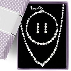 Jon Richard - Pearl and diamante crystal trio jewellery set